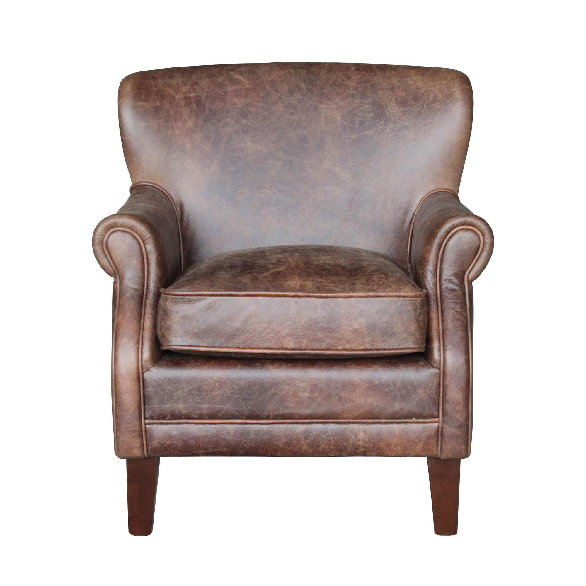 Leamington Leather Armchair - Brown | Dunelm