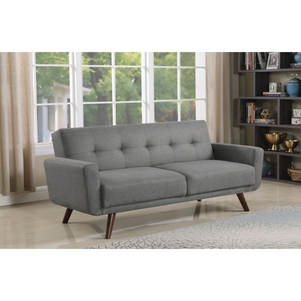 Shop Ophelia Mid-century Modern Grey and Walnut Sofa Bed - Free