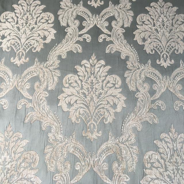 Sofa Fabric Plain dyed Damask Pale Blue Soft Chenille Headboard Bag