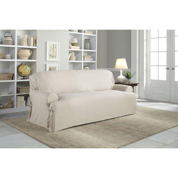 Serta Cotton Duck T-Cushion Sofa Slipcover & Reviews | Wayfair