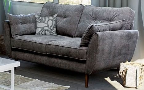 Cute Grey Two Seater Fabric Sofa Sofas Direct, Grey Fabric Sofa