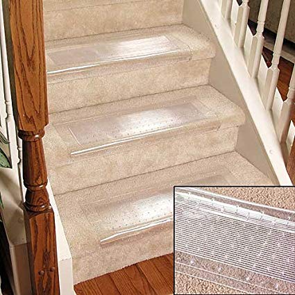 Clear Stair Treads Carpet Protectors Set of 2 - Staircase Step