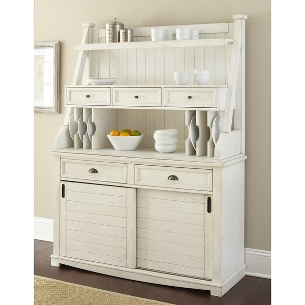 Shop Cottonville Farmhouse Antique White Storage Buffet Hutch by