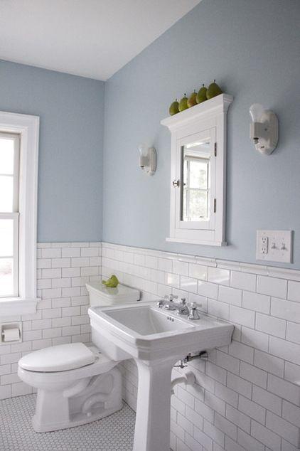Partial tile bathroom backsplash | Subway Tile Wainscoting Puts