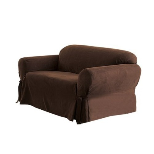 NEW Soft Suede Loveseat Slipcover Chocolate - Sure Fit 47293404467