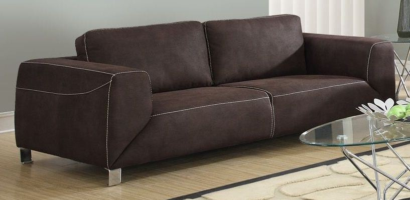Chocolate Brown - Tan Contrast Micro-Suede Sofa from Monarch (8513BR