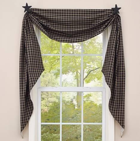 Fishtail Swag Curtains | Sturbridge Black 145