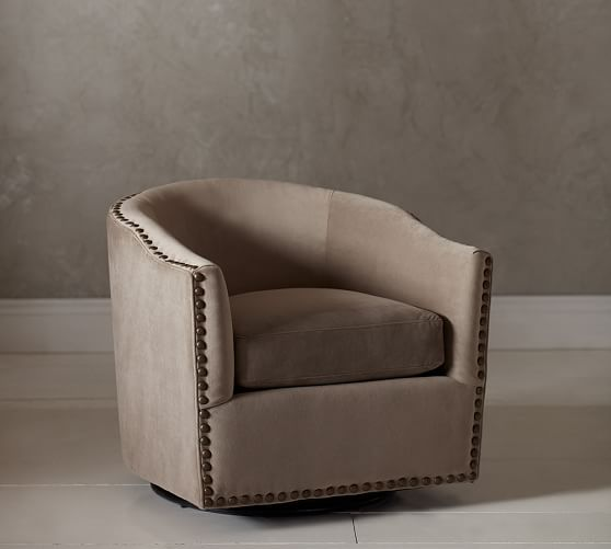 Harlow Upholstered Swivel Armchair | Pottery Barn