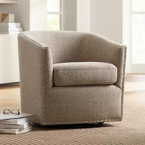 Swivel Armchairs for Living Room Luxury Tyler Trinity Stone Fabric