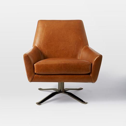 Lucas Leather Swivel Base Chair | west elm