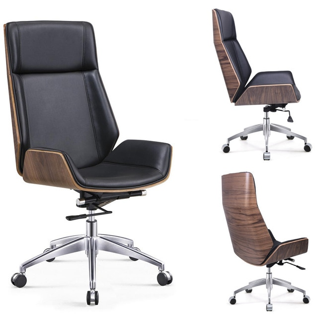 High Back Bentwood Swivel Office Computer Chair Micro Fiber Leather