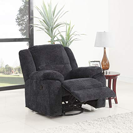 Amazon.com: DIVANO ROMA FURNITURE Brush Microfiber Rocker and Swivel