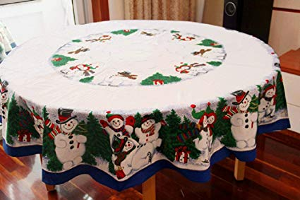 Amazon.com: MZPRIDE Cute Snowman Christmas Tablecloth Pine Tree