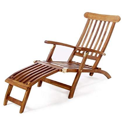 Amazon.com: All Things Cedar TF53 Teak Steamer Chair: Kitchen & Dining