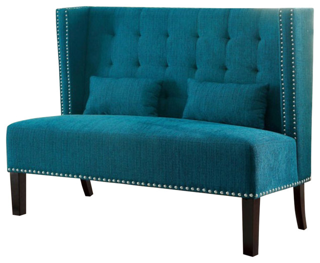 Amora Love Seat, Teal - Contemporary - Loveseats - by Benzara
