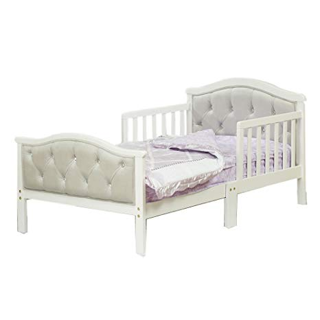 Amazon.com : Toddler Bed with Soft Tufted Headboard, Kids Wood Bed