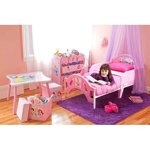Princess Girls Bedroom Set Toddler Room in a Box Bed Toy Organizer