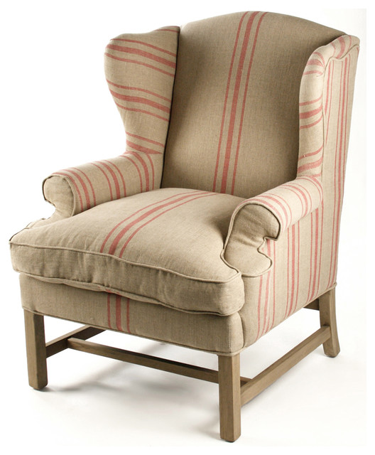 Khaki Linen English Club Chair with Red Stripe - Traditional