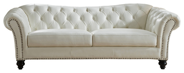 Mona Leather Craft Sofa - Traditional - Sofas - by KEMP