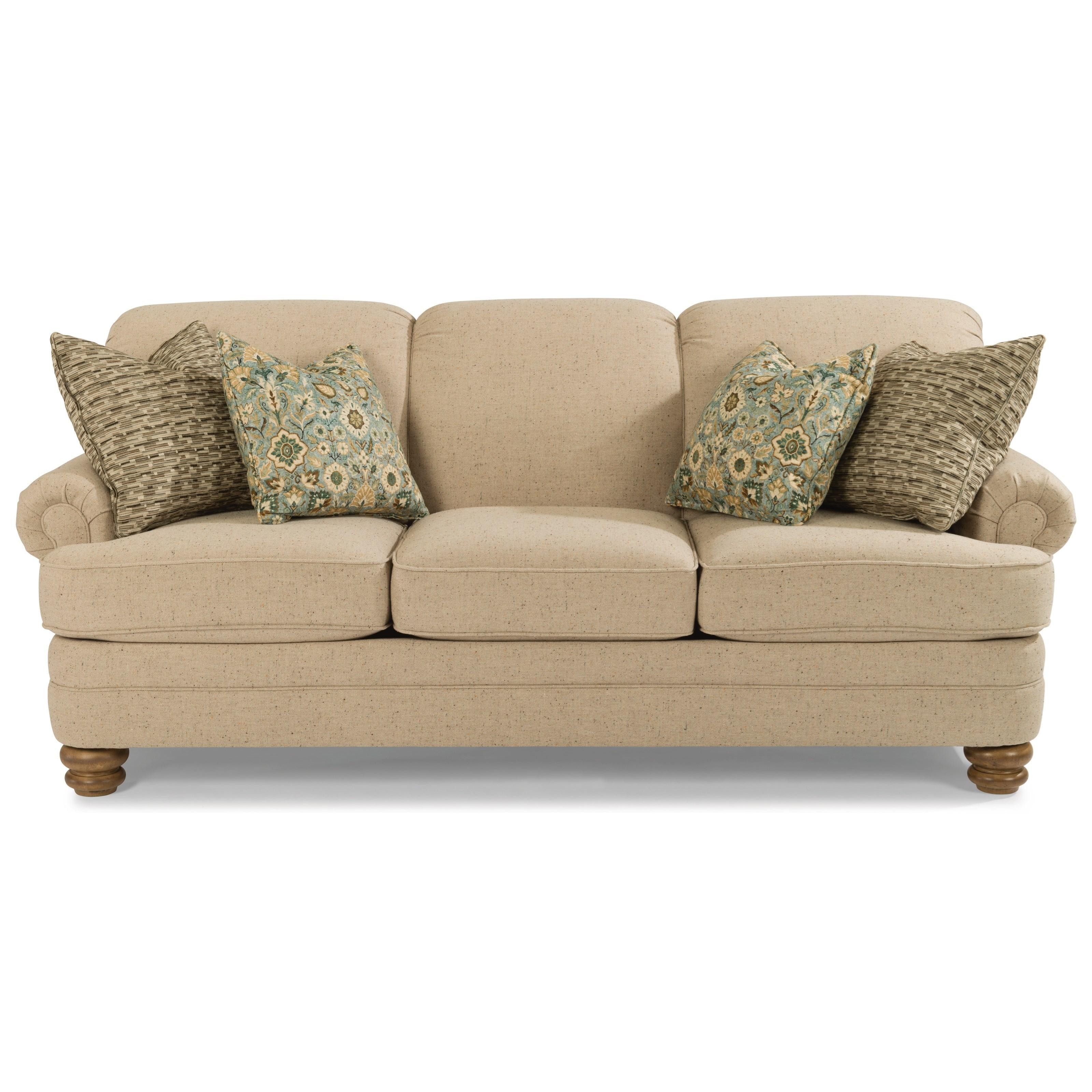 Flexsteel Bay Bridge Traditional Rolled Back Sofa | Turk Furniture