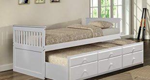 Amazon.com: Merax Captain's Platform Storage Bed with Trundle Bed