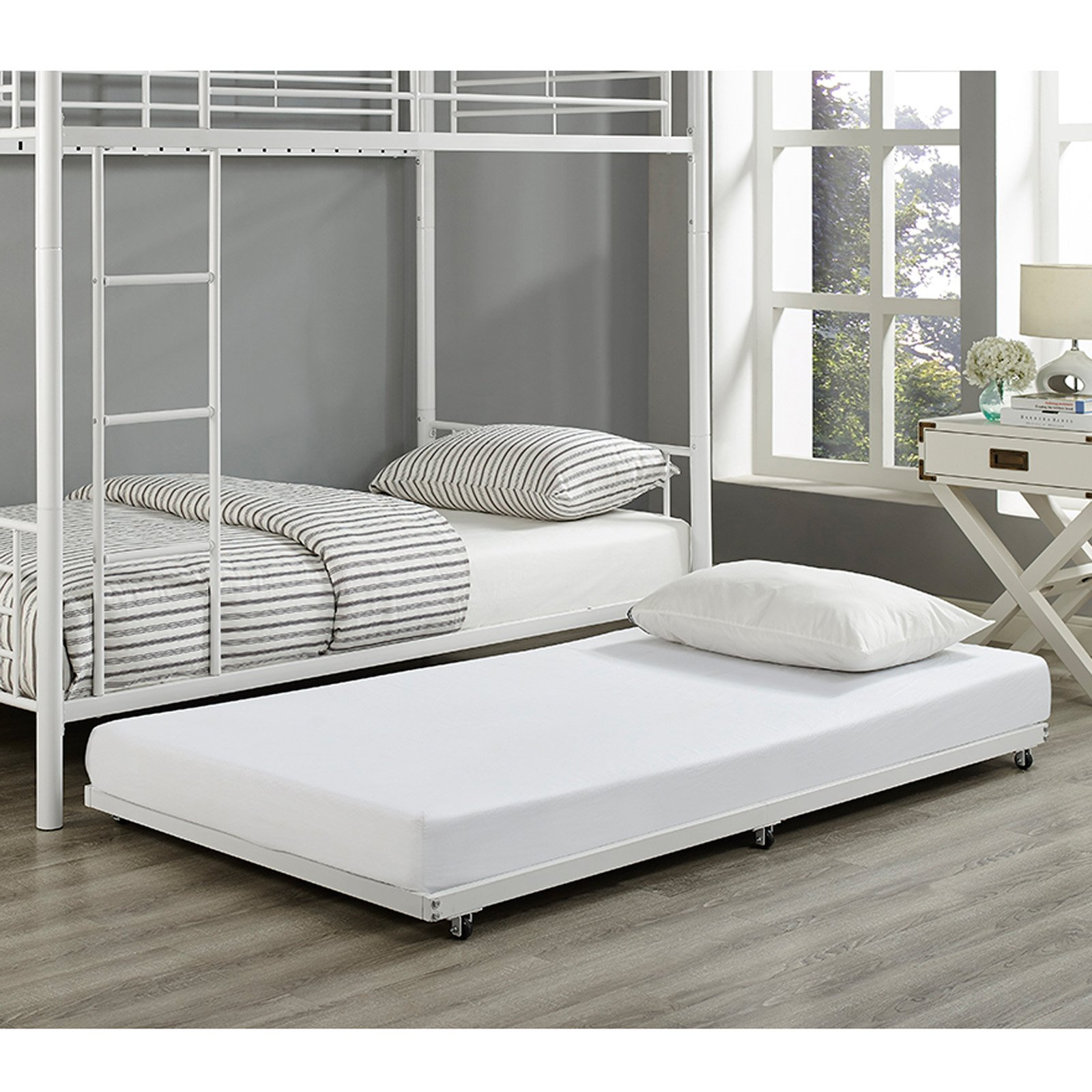 Walker Edison White Twin Roll-Out Trundle Bed Frame - Walmart.com