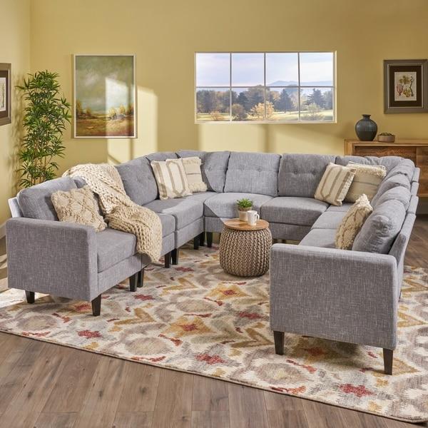 Shop Delilah Mid Century Modern U-Shaped Sectional Sofa Set(Set 0f