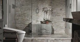 Wall Design Ideas |  with Stacked Stone Wall: Unique Bathroom