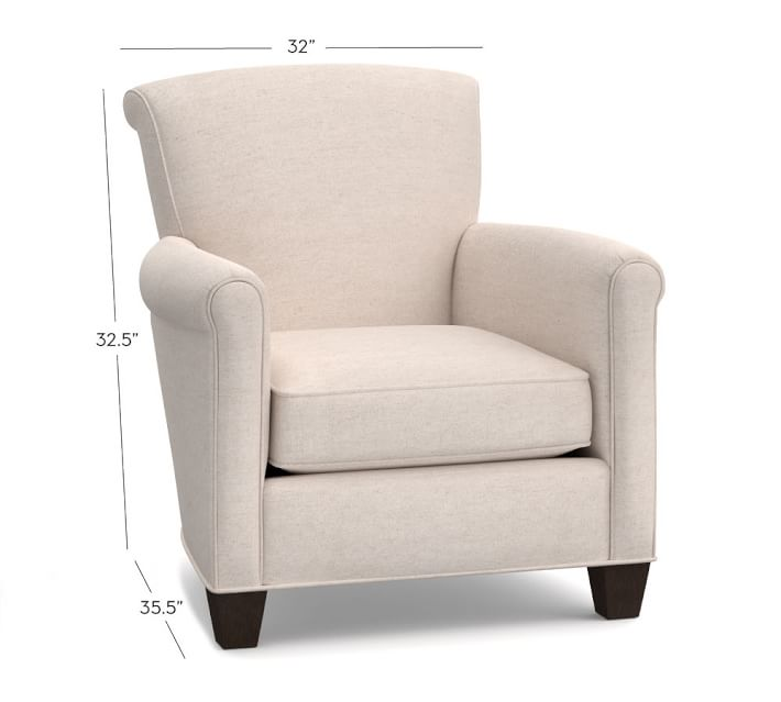 Irving Roll Arm Upholstered Armchair | Pottery Barn