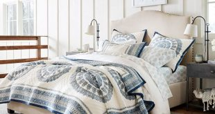 Raleigh Upholstered Curved Tall Bed | Pottery Barn