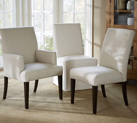 PB Comfort Square Upholstered Dining Chairs | Pottery Barn