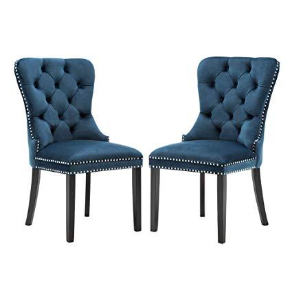 Amazon.com : Elegant Tufted Upholstered Dining Chairs, Retro Velvet