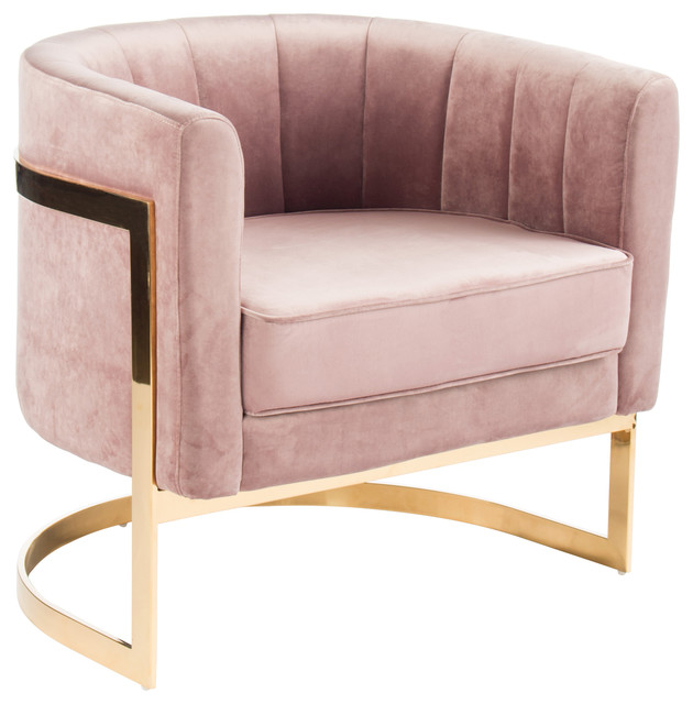 Mica Gold Accent Chair, Blush Pink - Contemporary - Armchairs And