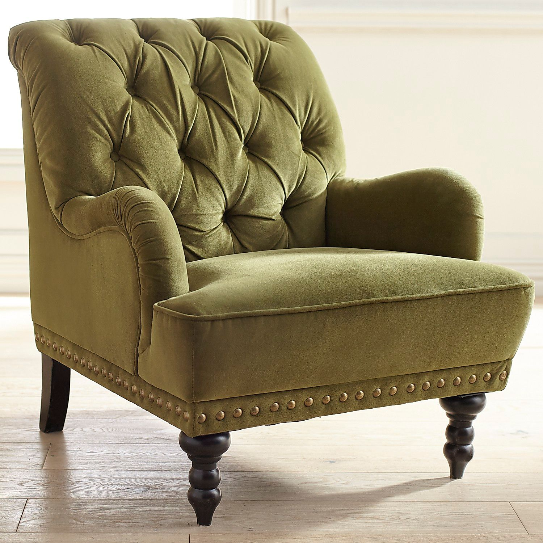 Chas Olive Green Velvet Armchair | Pier 1