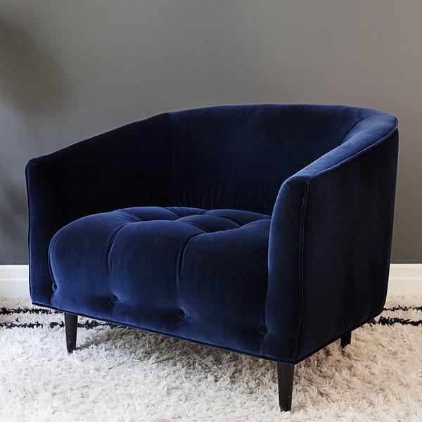 Carla Large Deep blue velvet armchair u2013 Att Pynta