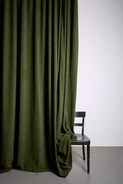 Extra Wide Matt Velvet Dim-out Curtains 300cm/118u201d - Green Velvet 253