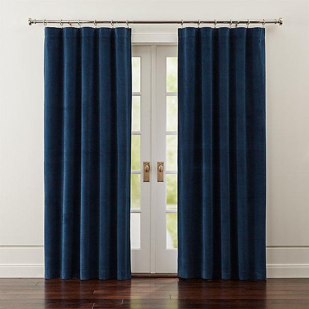 Windsor Blue Velvet Curtains | Crate and Barrel