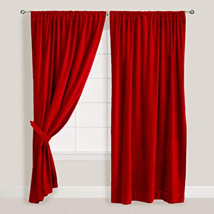 Amazon.com: Red Velvet Curtain 52 x 108 inch, Velvet Curtain Pair