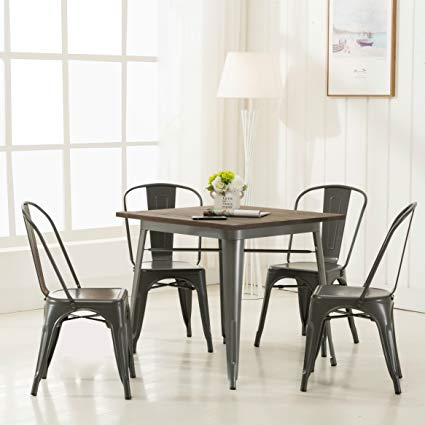 Amazon.com - Modern Vintage Metal Stackable Dining Chairs with Backs