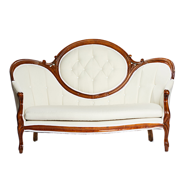 SOFA: French Linen Vintage Sofa Rental | A LA CRATE RENTALS