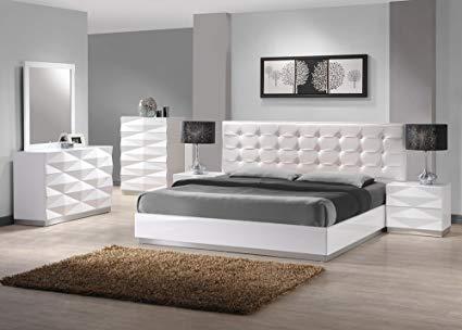 Amazon.com: J&M Furniture Verona Modern White Lacquer & Leather