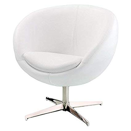 Amazon.com: Best Selling Modern Leather Round Back Chair, White