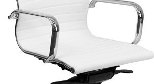 Amazon.com: Flash Furniture High Back White Ribbed Leather Executive