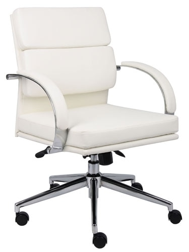 Boss B9406 Black or White Leather Office Chair