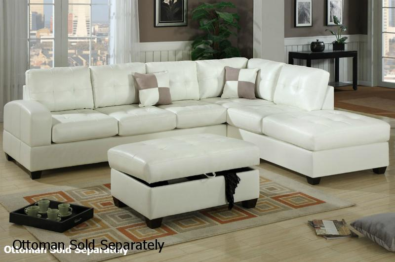 White Leather Sectional Sofa - Steal-A-Sofa Furniture Outlet Los