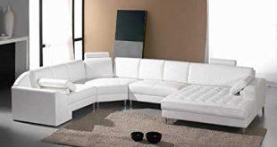 Amazon.com: Vig Furniture Monaco White Leather Sectional Sofa #2236