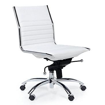 White Office Chair | Modern Malcolm Armless Chair | Z Gallerie
