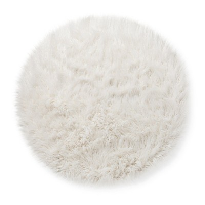 Faux Fur Rug (3' Round) White - Pillowfort™ : Target