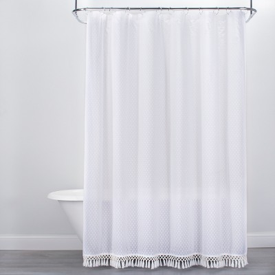 Textured Dot Fringed Shower Curtain White - Opalhouse™ : Target