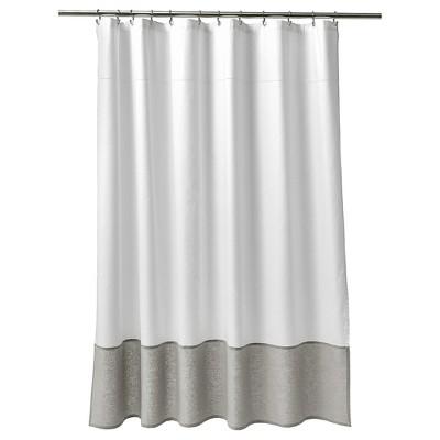 Oxford Stitch Shower Curtain White/Gray - Fieldcrest® : Target